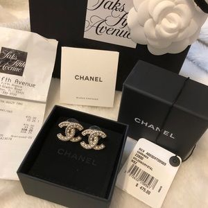 Authentic Chanel CC golden Chrystal earrings